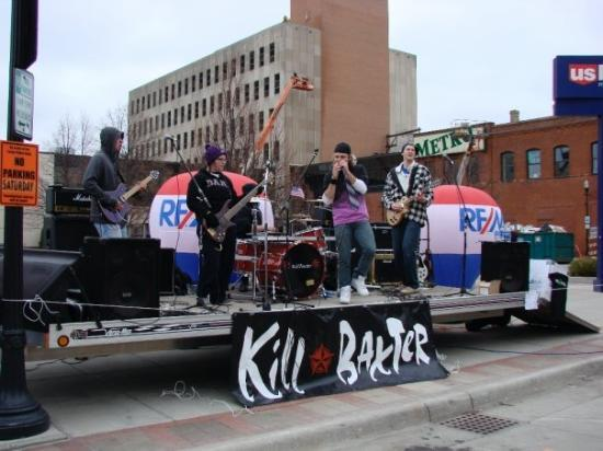 """Fargo Marathon: Band playing """"Crazy Train"""" in downtown Fargo for all of the runners."""