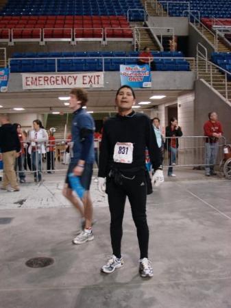 Fargo Marathon: At the finish. The finish line was inside the Fargodome.