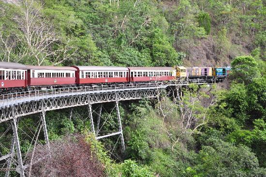 Kuranda Scenic Railway: The train turning on a bridge
