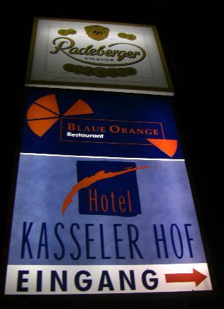 Billboard outside the hotel on the road Hotel Kasseler Hof Germany