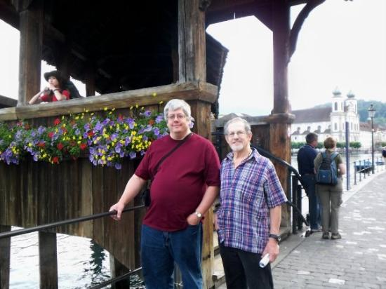 Kapellbrucke: Joe and Don next to Lucerne bridge
