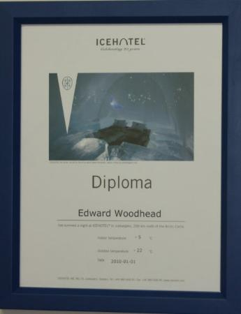 ed s diploma from the ice hotel that says that i survived a night  jukkasjarvi sweden ed s diploma from the ice hotel that says that i survived