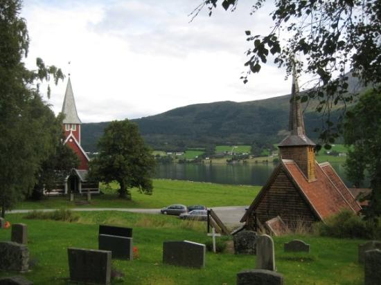 Andalsnes Norway - 1600 Stave church and 'modern' century old church