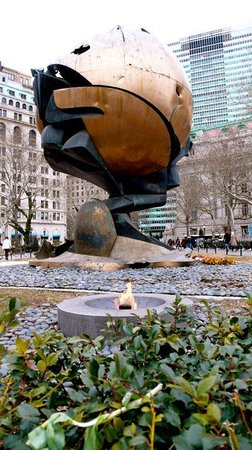 This, now in Battery park by the water, once stood out the front of the World Trade Centre. Mayb
