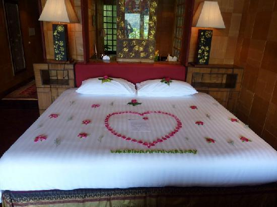 Bed decorated for our th wedding anniversary picture of mom