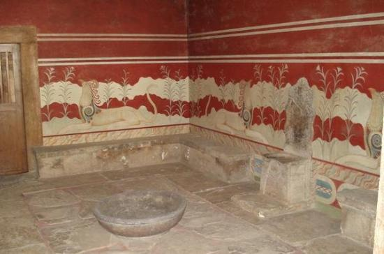 Knossos Archaeological Site: The throne room at Knossos Knossos, Crete, Greece 4 June 2007
