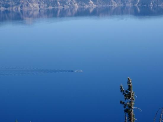 Crater Lake National Park, OR: Crater Lake. That's boat going across the lake.
