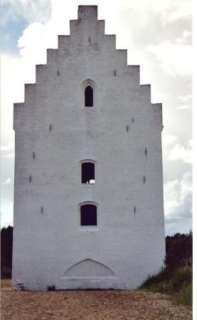 St Lawrence parish church of Skagen was founded c 1375. The tower, 2-3 m of which is now sandcov