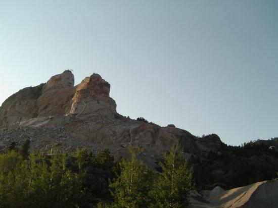 Crazy Horse Memorial: Chief Crazy Horse Mountain is larger than the Pyramids, so large in fact that Mount Rushmore fit