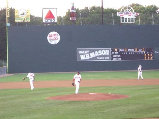 """Hadlock Field : Note the """"Maine Monster"""" in the background, this place's version of Fenway's """"Green Monstah."""""""