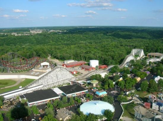 Kings Island: Firehawk and Racer from on top of the KI Eiffel Tower