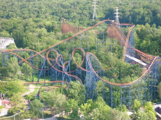 Kings Island: The Vortex from on top of the KI Eiffel Tower
