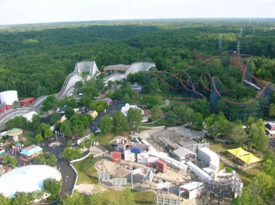 Kings Island: The Racer and Vortex from the top of the KI Eiffel Tower