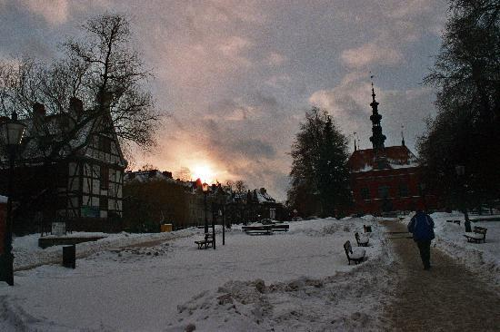 Villa Angela: The sun goes down in Gdansk Old Town.