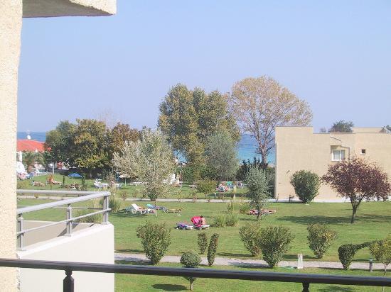 Leptokarya, اليونان: Blick vom Balkon aufs Meer