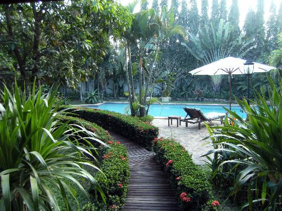 La Palmeraie d'Angkor: accès a la piscine