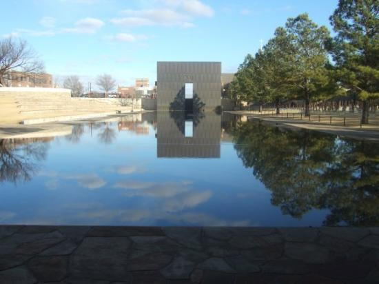 Oklahoma City National Memorial & Museum: this the Oklahoma City bombing memorial......the water is actually the old street that ran in fr