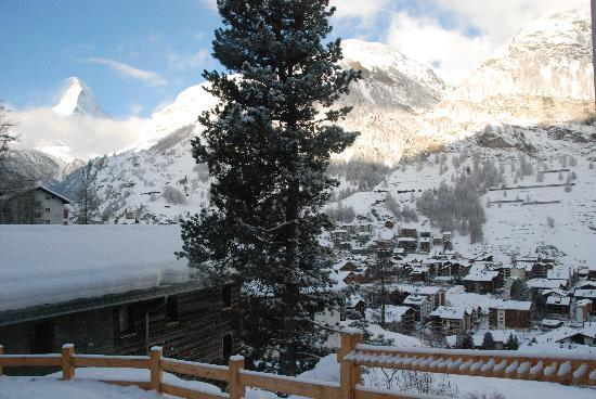 CERVO Zermatt: The view from just out of the chalet.. you can see a side of the chalet...