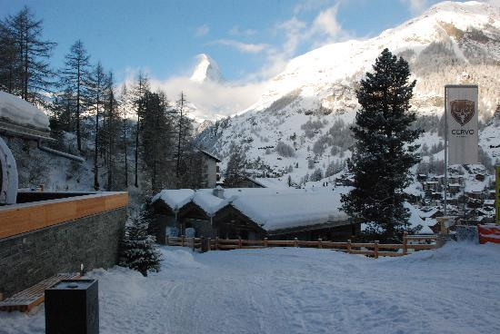 CERVO Zermatt: The view from just out of the chalet.. you can see the name and the chalet...