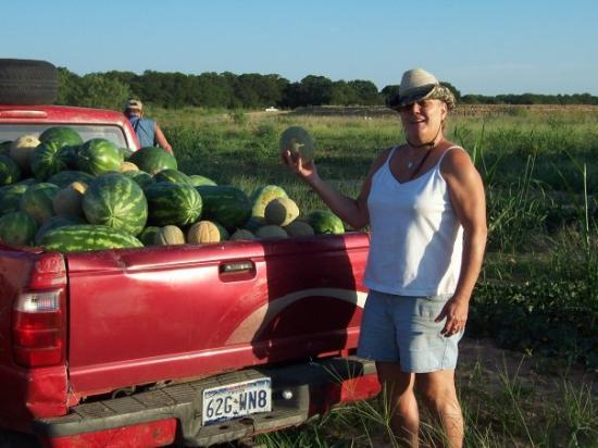Us all picking watermelons in Rising Star,TX