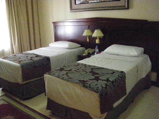 Admiral Plaza Hotel: Twinbed, stenhård! med x madrass ok