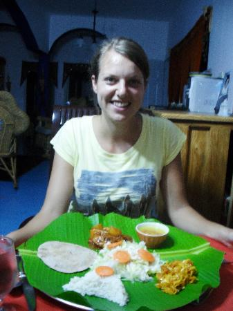 Jasmine Spa and Wellness: Linda (student from Holland) having an Indian Dinner