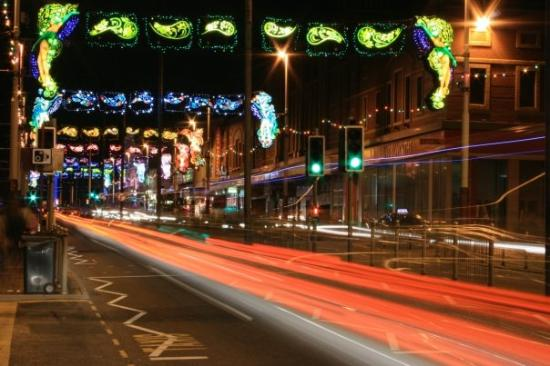 Blackpool Illuminations: Lights and traffic taillights