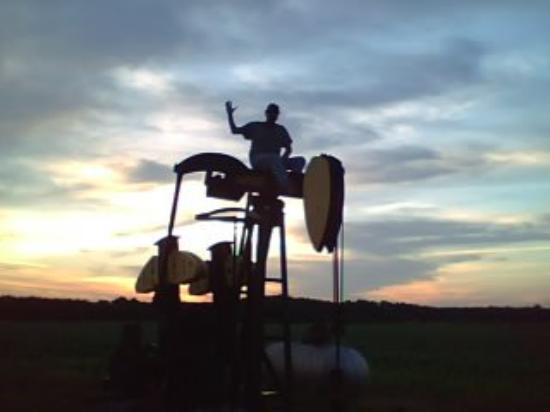 Arkansas City, KS: My Cowboy breaking an oil pump and showing me how