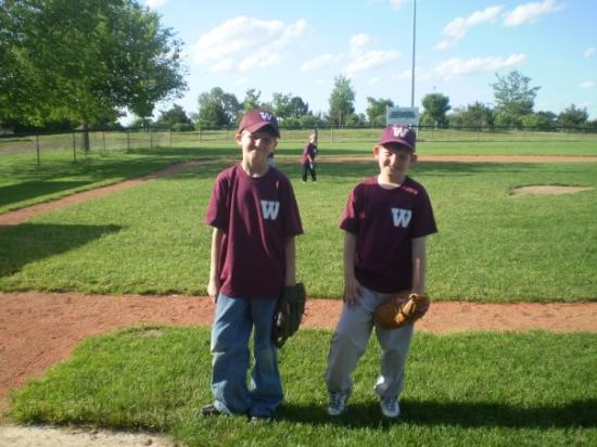 Wakefield, NE: my boys brandon and michael at a baseball game...