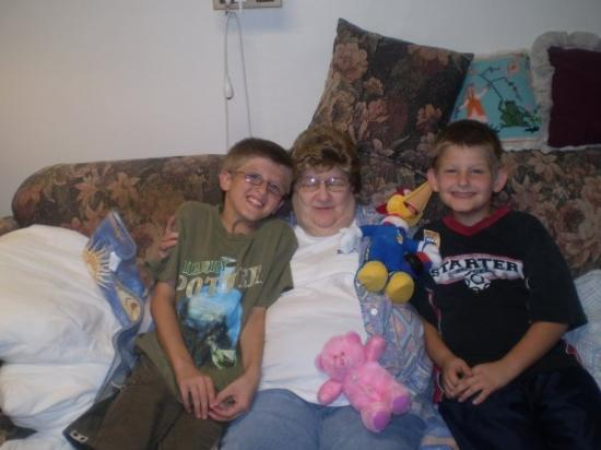 Wakefield, NE: brandon,my mom,michael sitting on my moms couch in my moms nurseing room....