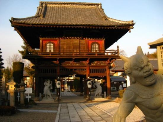 Takasaki, Japon : Temple gate from the 1700's.  And a lovely oni in the foreground.  Yoshii - 01/04/10