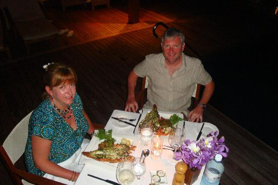 "Baros Maldives: Our private BBQ on our decking.... ""what a lobster!"""