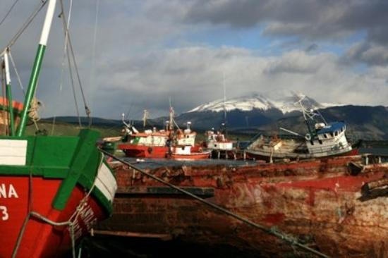 Boats in the harbor at Punta Arenas, Chilé