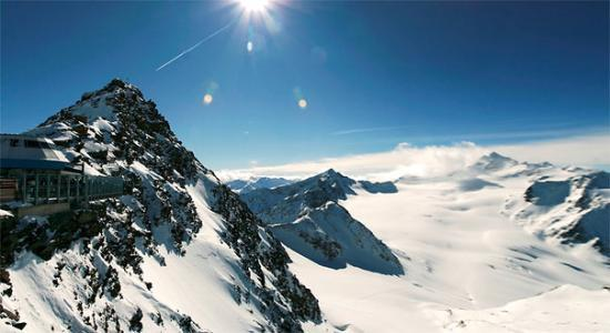 Soelden, Austria: The view of Tirol's highest mountain: Wildspitze (3,776 m), from Tiefenbach Glacier (3.307 m). S