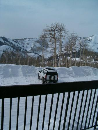 "Powder Ridge Village: The ""parking lot"" with our Hummer in it"
