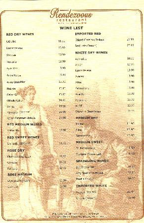 Rendezvous: Wine List