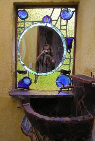 Lush Atitlan/Hotel Aaculaax: striking bathroom sink and mirror at the Aaculaxx