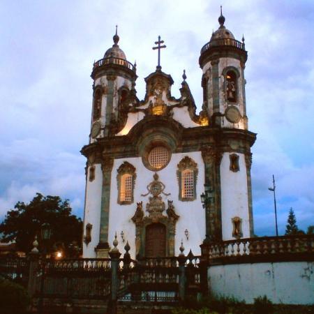 """Aleijadinho's """"Baroque Church"""" of Sao Francisco de Assis. Sao Joao del Rei, Minas Gerais State."""