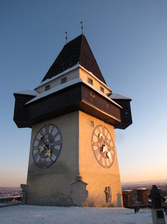 The famous symbol of the town, the Grazer Uhrturm clock tower on the top of the Schlossberg hill