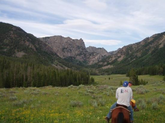Cora, WY: me leading a ride into Boulder Basin