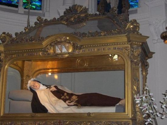 St. Therese of Lisieux in a glass coffin