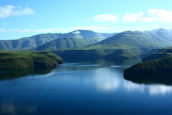 Bokong, Lesotho: View from the hotel over reservoir