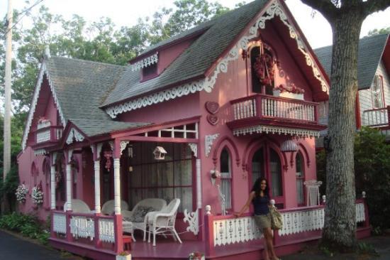 Martha's Vineyard, MA: The pink dollhouse cottage.
