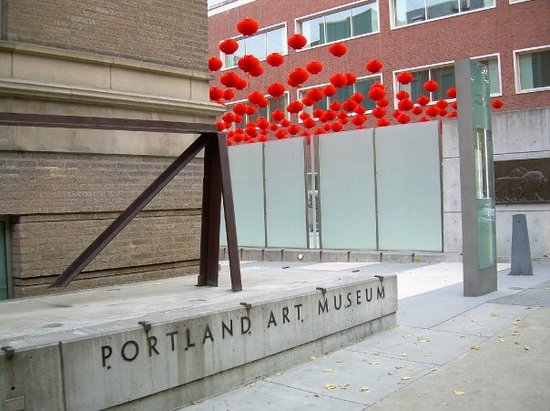 Portland Art museum and the new red lanterns up for the China Design exhibit