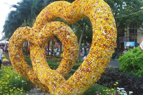 Ho Chi Minhstad, Vietnam: two hearts made of everlasting flowers on TET 2010,central park ho chi minh city