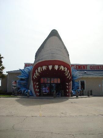 Red Roof Inn Port Aransas: The walk-thru shark at BoJon's