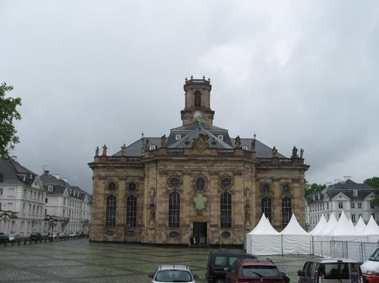 Saarbrücken, Deutschland: A beautiful church in Saarbrucken it is a famous landmark and featured on a Euro(coin)