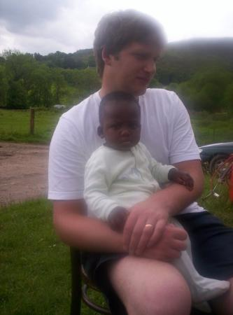 """Fort Augustus, UK: My """"Cousin-in-law"""" Callum sitting with his daughter, Emma."""