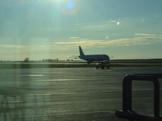 Llegada del avion, aeropuerto Lleida