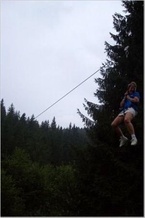 Lunca Bradului, Rumania: Zip Line! Way more fun upside down!